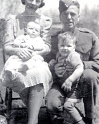 Mrs. Maureen Barlow with her parents and brother
