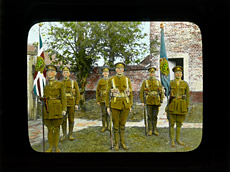 Glass magic lantern slide of the 38th Canadian Infantry Battalion