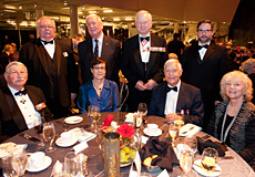Back row: Gordon Moore, Dominion President, The Royal Canadian Legion; J. L. Granatstein, O.C., FRSC, historian; Major-General (Ret'd) Lewis MacKenzie; James Whitham, Director General, Canadian War Museum • Front row: Lieutenant-General (Ret'd) Bill Leach, C.M.M., C.D., Chair, Board of Trustees, Canadian Museum of History; Chantal Schryer, Vice-President, Corporate Affairs, Canadian Museum of History; Michael Bliss, O.C., FRSC, historian; Dr. Linda Grayson.