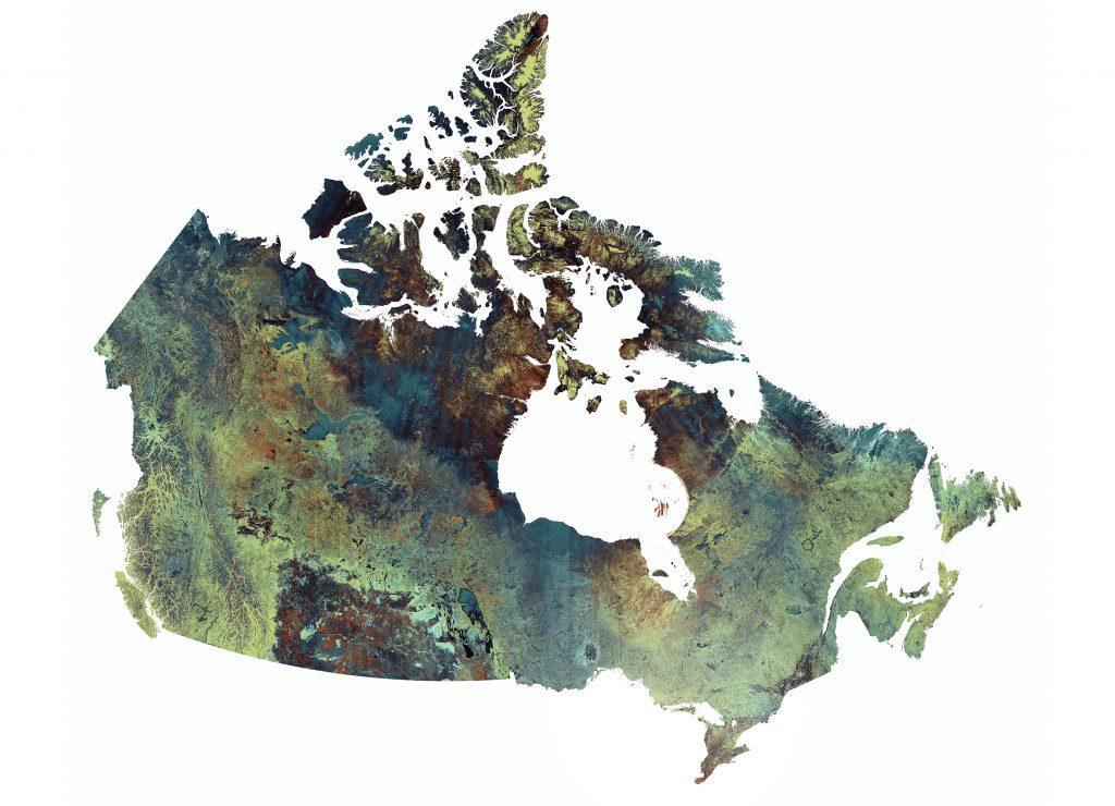 Satellite image of Canada