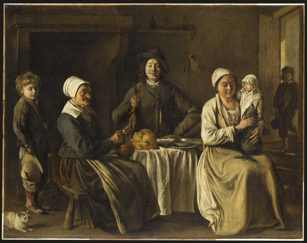 Painting of a family sitting around a table with bread and wine in 18th century New France.