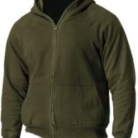 Thermal lined zipper hooded sweatshirt olive drab:: Chandail thermique