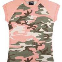 Women's pink camo s/s raglan t-shirt:: T-shirt de style raglan pour femme