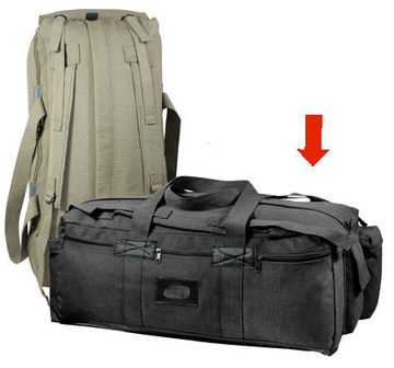 Canvas mossad duffle bag black:: Sac marin couleur olive terne