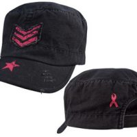 Women adjustable vintage fatigue cap with pink sergeant stripes & star:: Casquette pour femme r