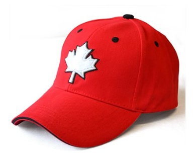 Red Baseball Cap with White Maple Leaf