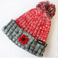 Red and grey Poppy Knitted Toque