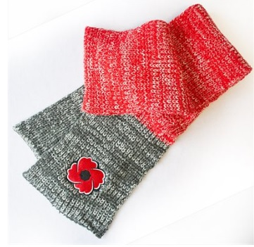 Red and grey Poppy Knitted Scarf