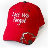 Lest We Forget Red Baseball Cap