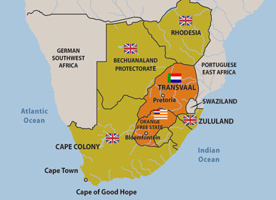 Boer War Maps : Map of Southern Africa showing the British colonies and the Boer republics - 2.a.2.1 cgr5