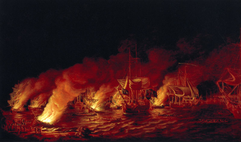 The defeat of the french fireships attacking the british fleet at
