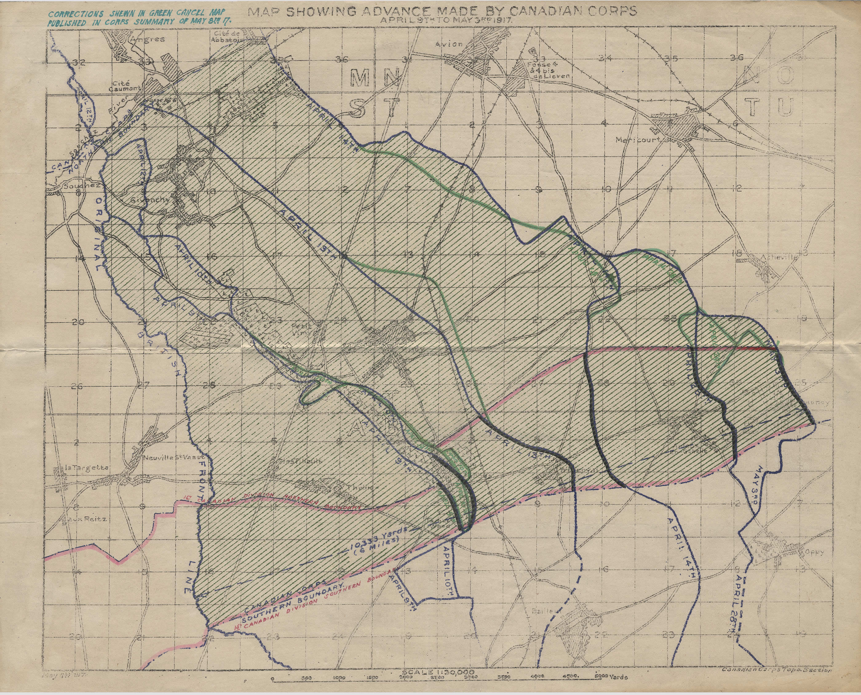 Map of Canadian Advance at Vimy