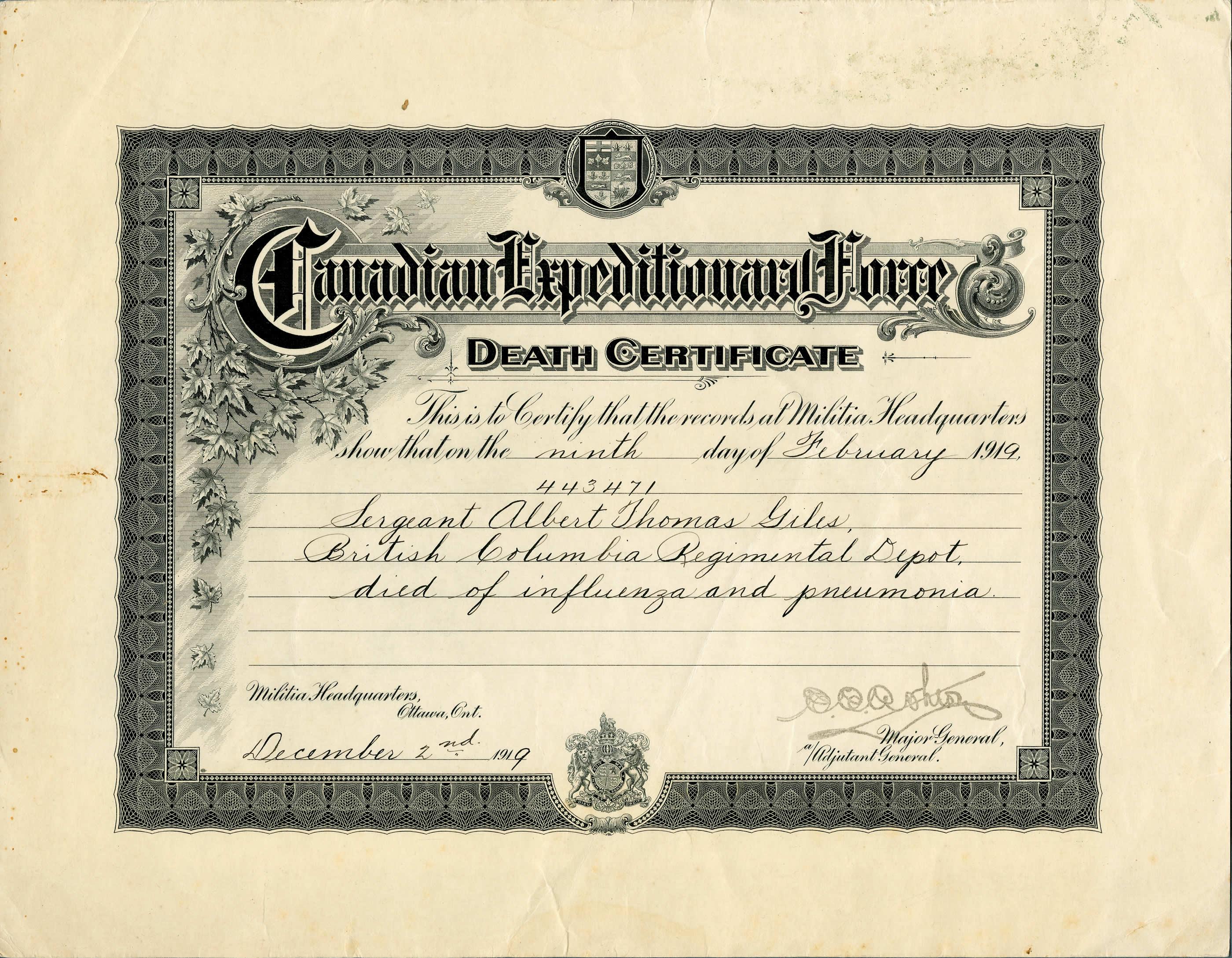 Flu Death Certificate