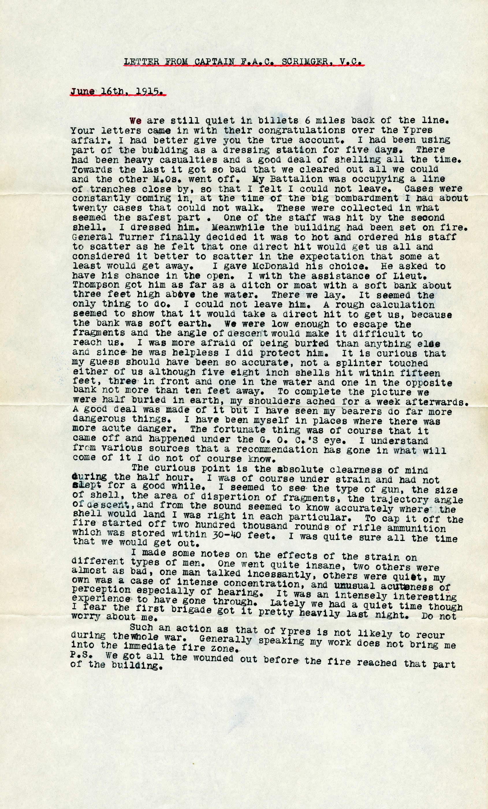 Letter from Captain F.A.C. Scrimger, V.C.