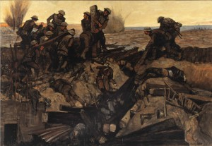 Canadians Repairing a Track Under Shell-Fire