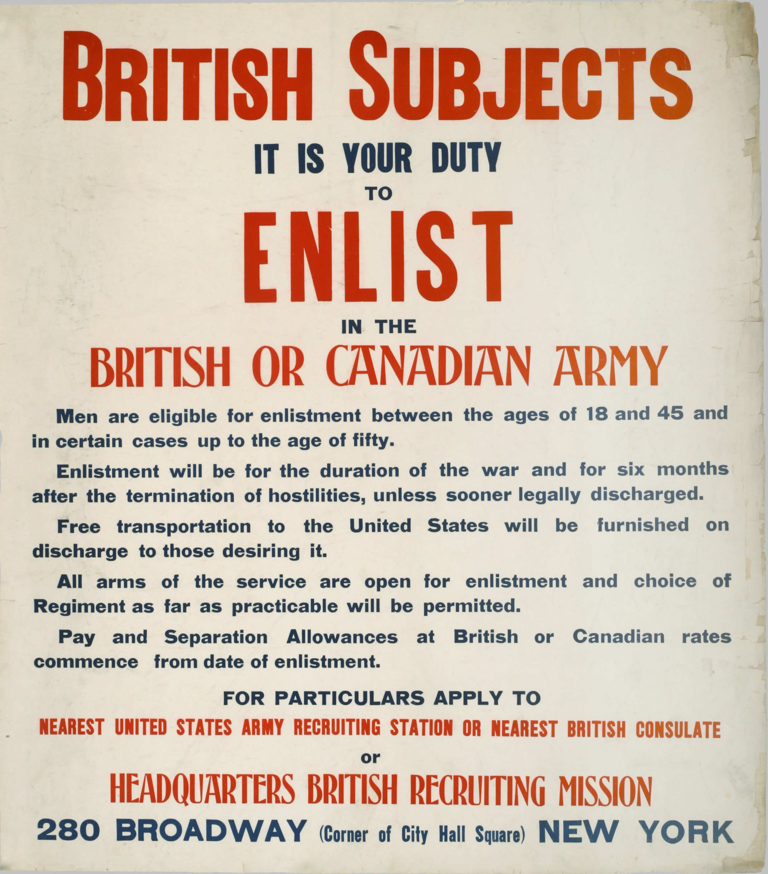 Enlist in the British or Canadian Army