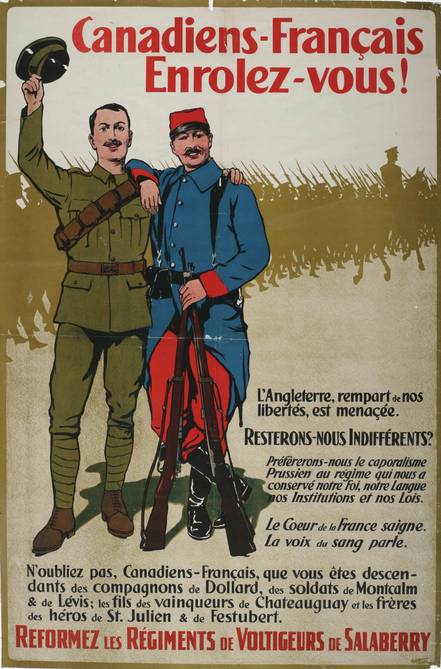 <i>Canadiens-Francais, Enrolez Vous!</i> (French Canadians, Enlist!)