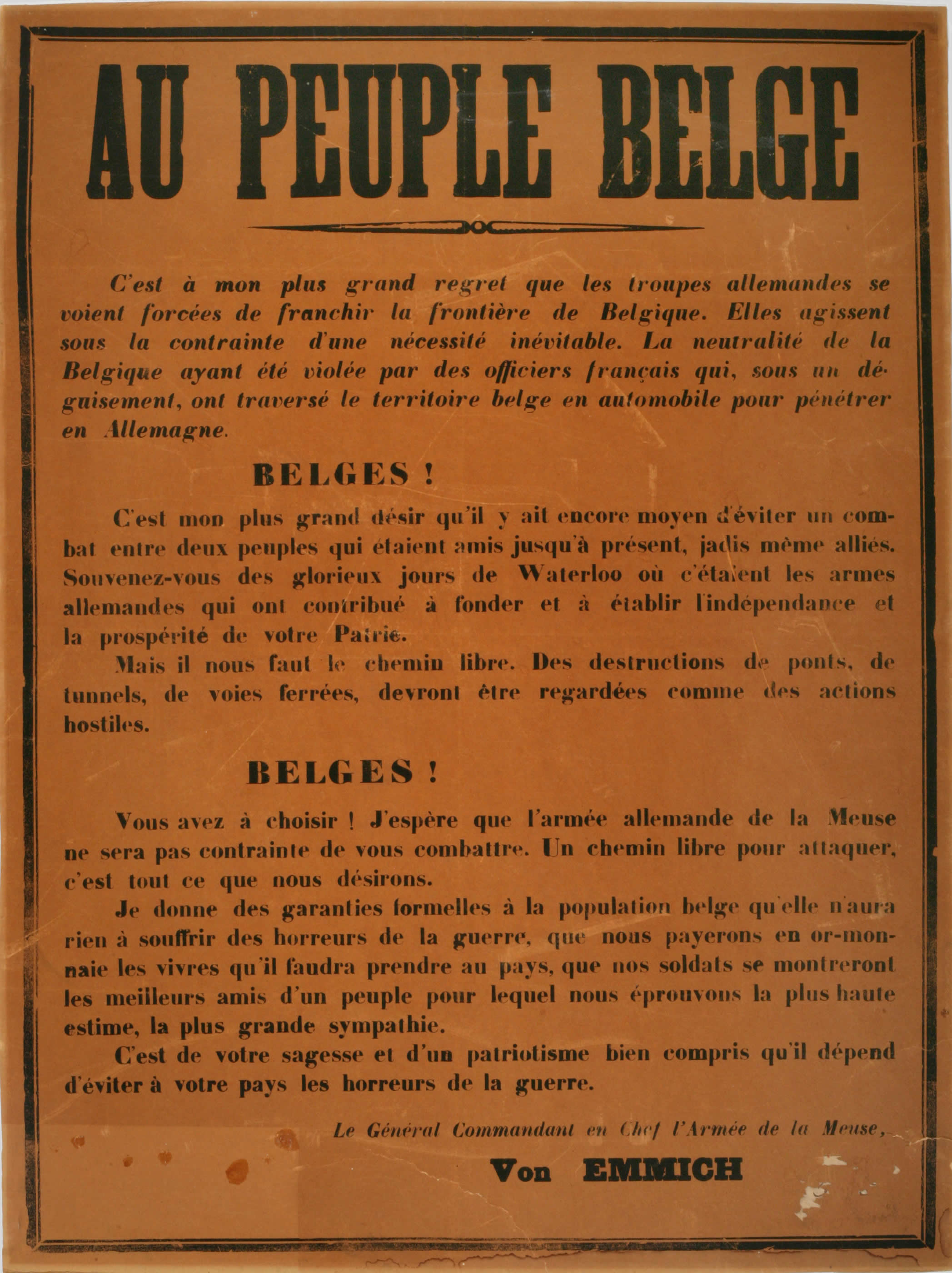 <i>To the Belgian People</i>
