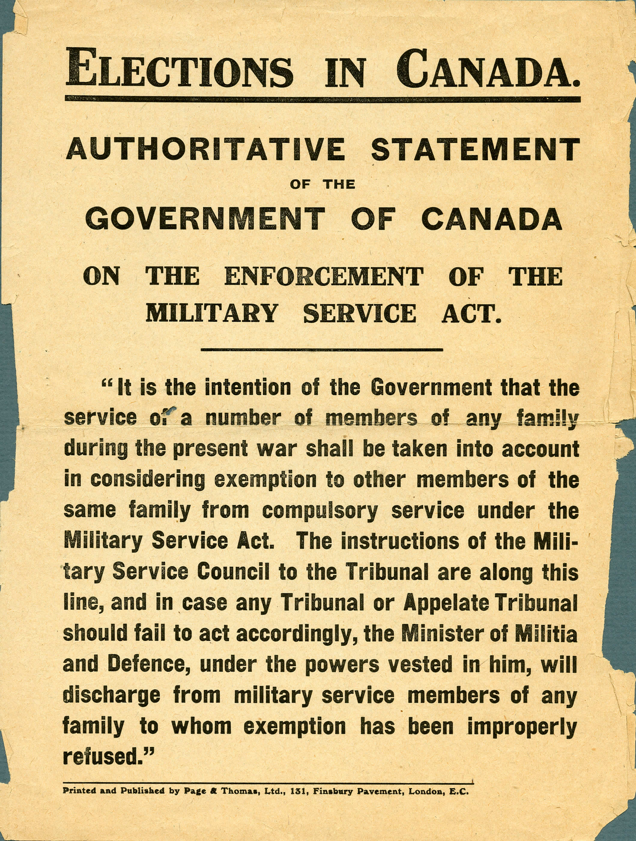 <i>Enforcement of the Military Service Act</i>