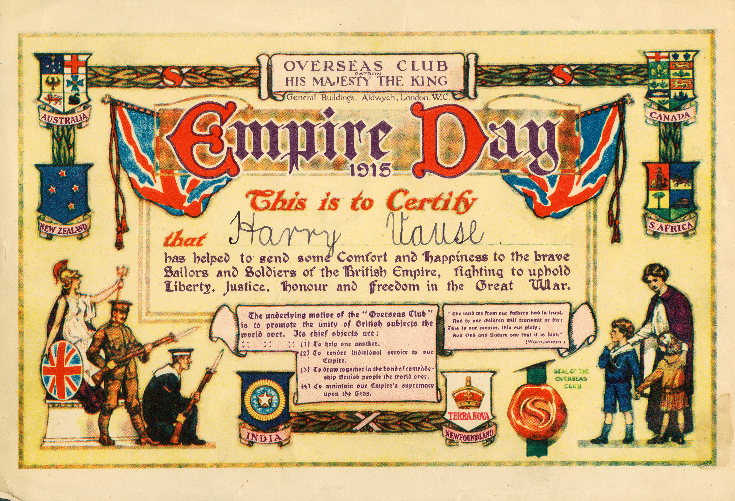 <i>Empire Day Certificate</i>