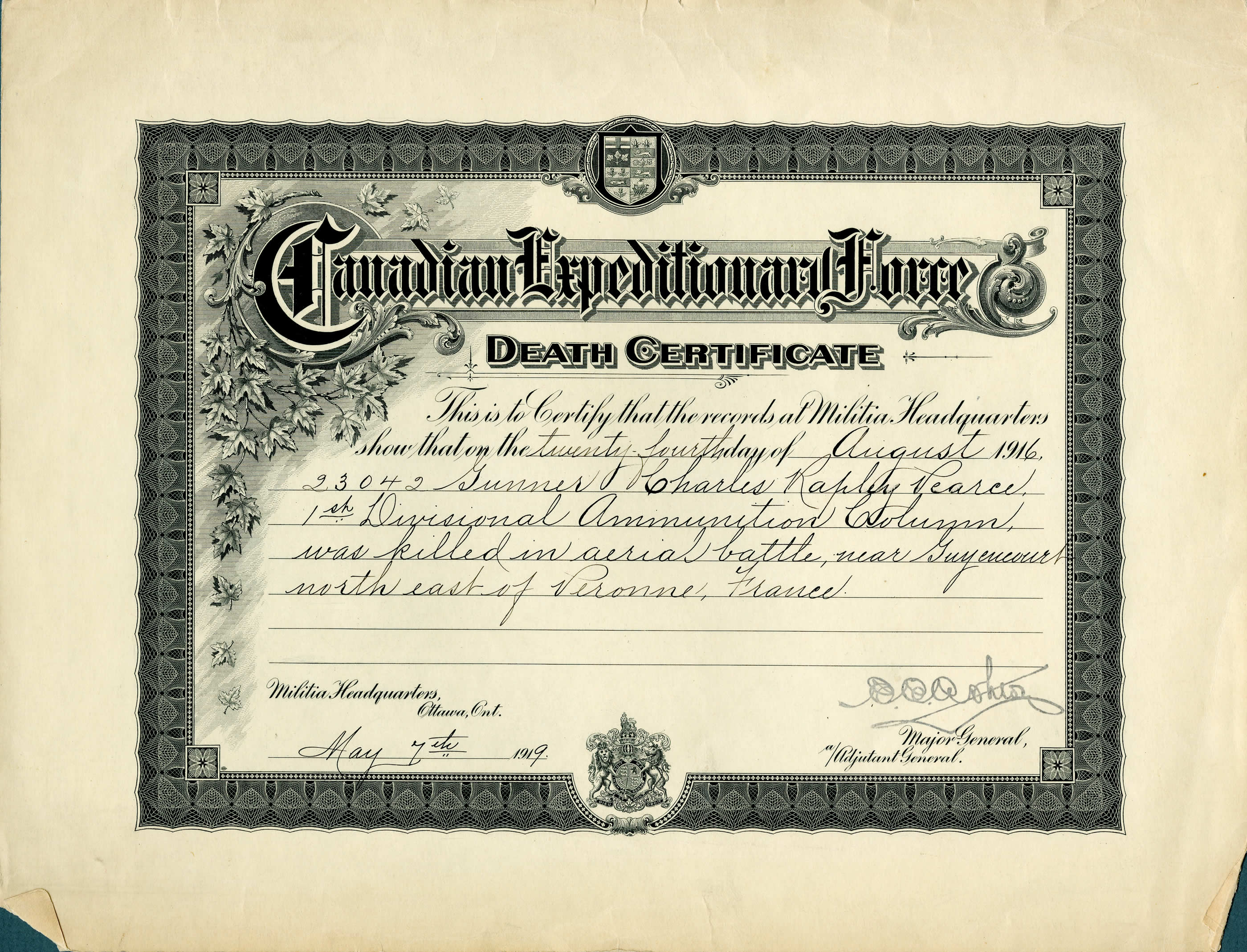 Military Documents Death Certificate Canada And The First World War