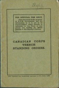 Canadian Corps Trench Standing Orders