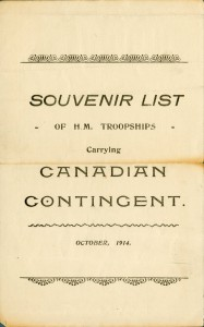 Souvenir List, First Canadian Contingent