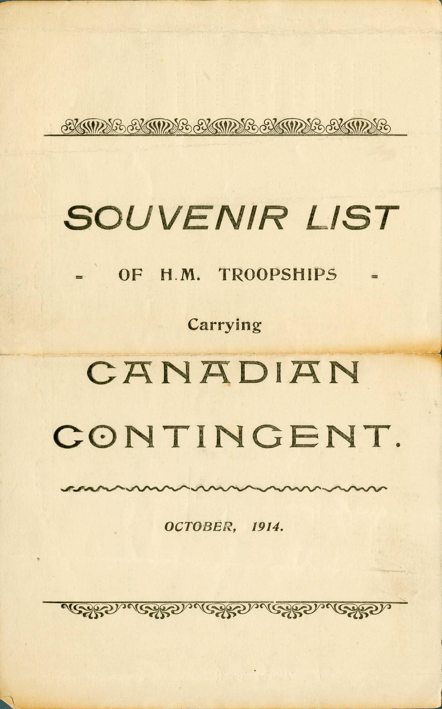 Souvenir List, First Canadian Contingent