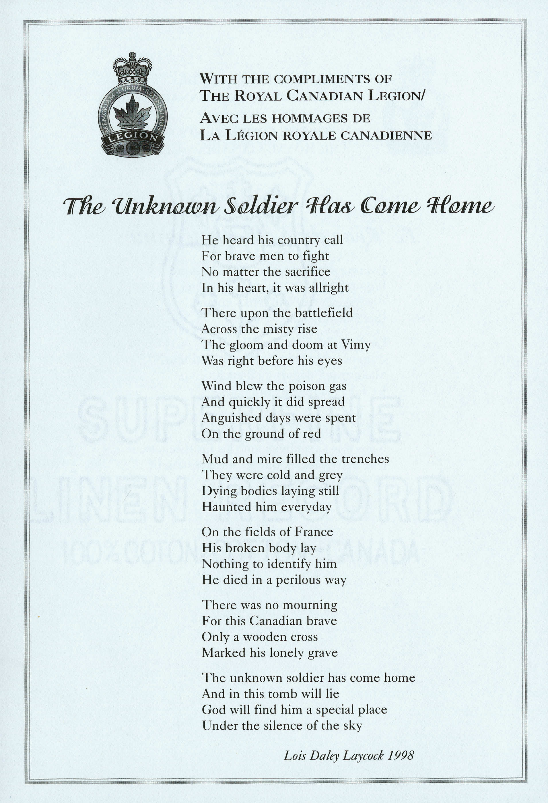 <i>The Unknown Soldier Has Come Home</i>