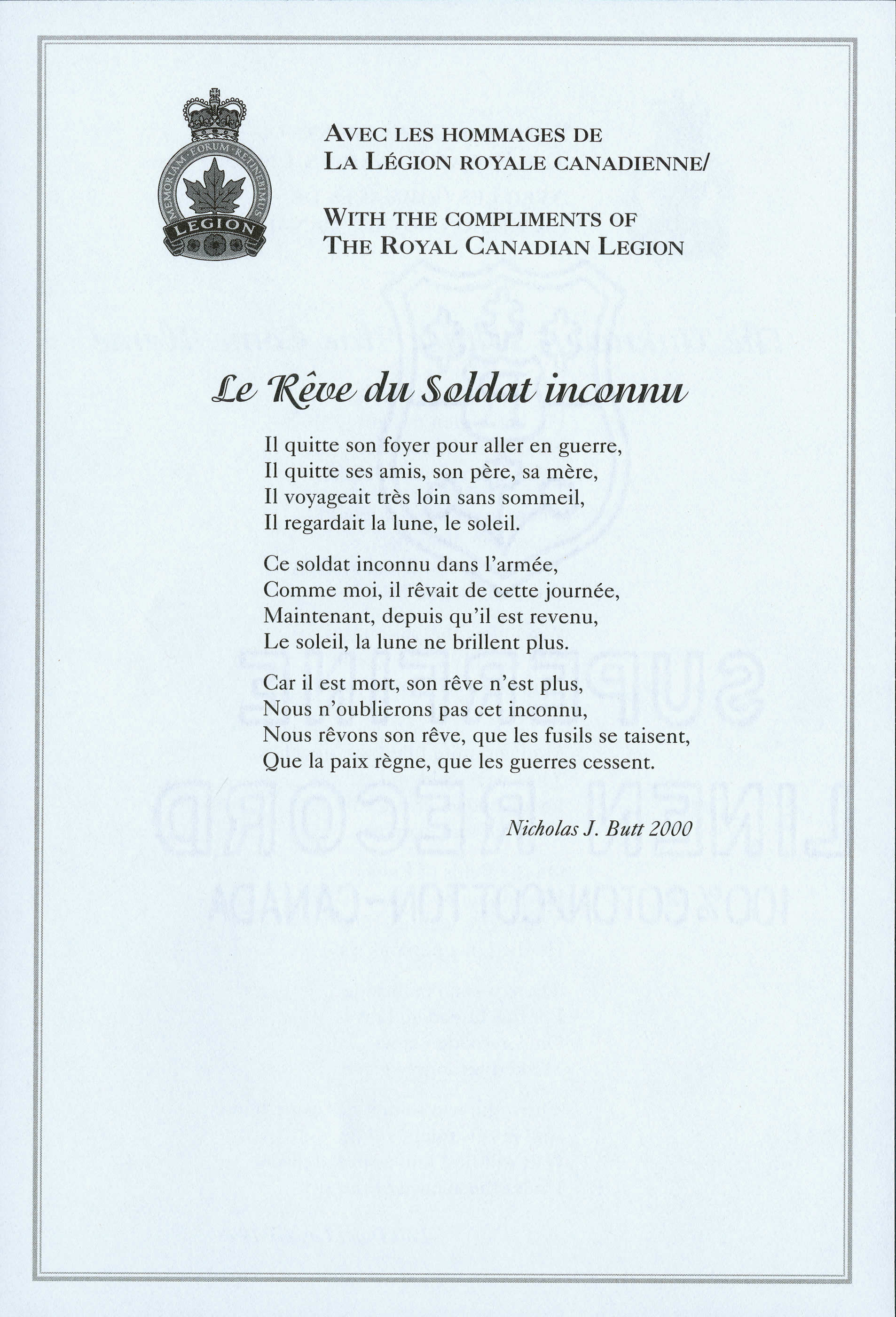 <i>Le Rêve du Soldat inconnu</i> (The Unknown Soldier's Dream)
