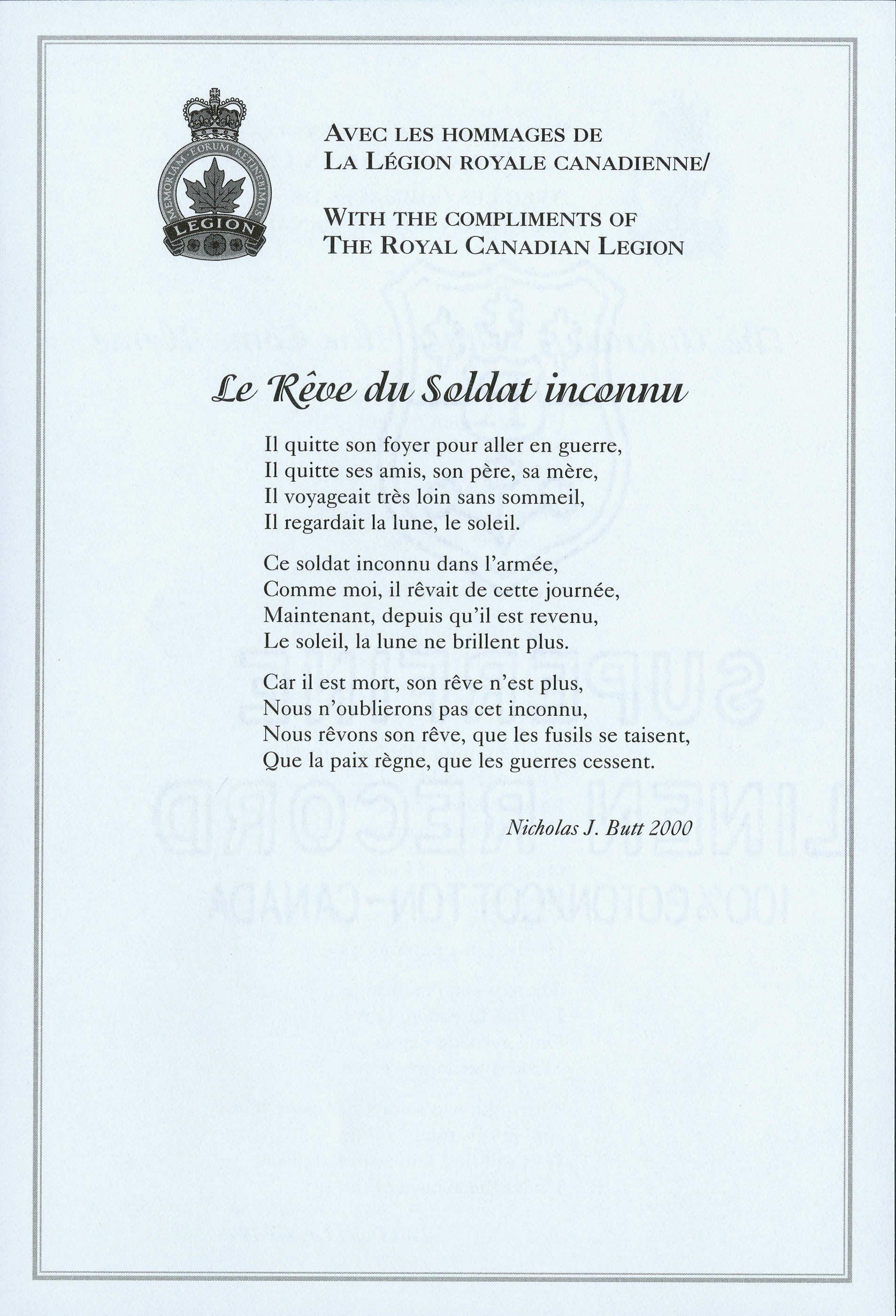 <i>Le Rêve du Soldat inconnu</i> (The Unknown Soldier's Dream)