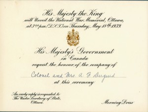 National War Memorial Invitation