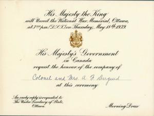 National War Memorial Invitation