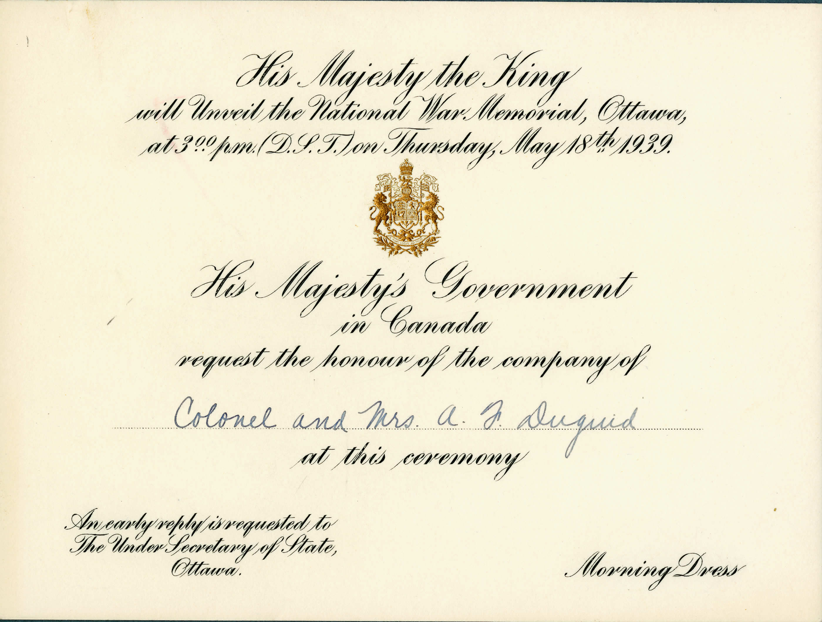 Government Documents - National War Memorial Invitation | Canada ...