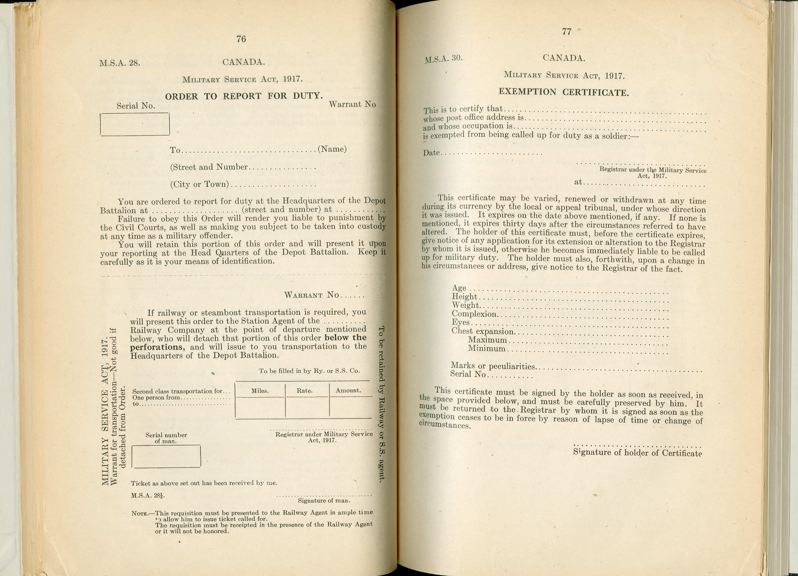 Forms from the Military Service Act Forms from the Military Service Act of 1917.