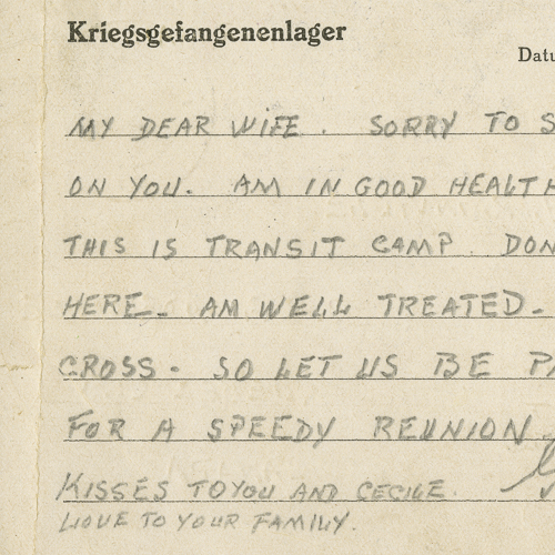 Prisoner of War Postcard from Guy Rainville to his wife, Peggy