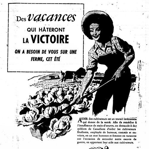 Newspaper Ad, Des vacances qui hâteront la Victoire (Vacations that will hasten victory)