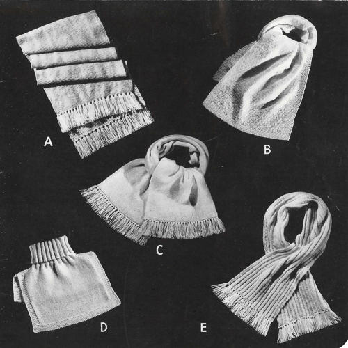 A page from the Beehive catalogue of Service Woolies shows four scarves and a turtleneck tuck-in.