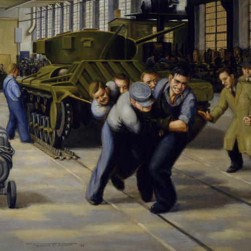 Performing One Half of the Operation Known as 'Applying the Tracks' to a Valentine Tank, painted by Frederick B. Taylor