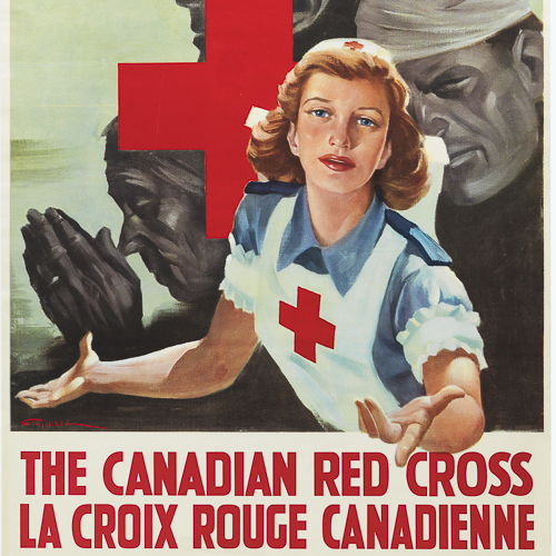 Colour illustration of a nurse holding out her hand.