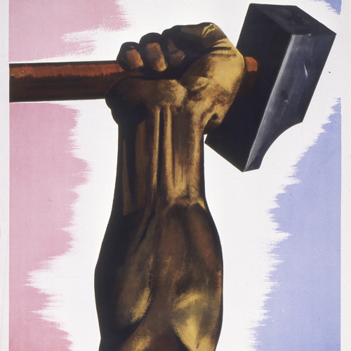 Colour illustration of an arm holding up a sledgehammer.