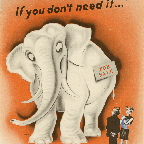 Colour illustration of an elephant with a 'For Sale' sign.