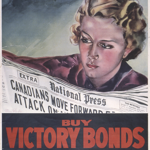 Colour illustration of a woman reading news of Canadian advances overseas.