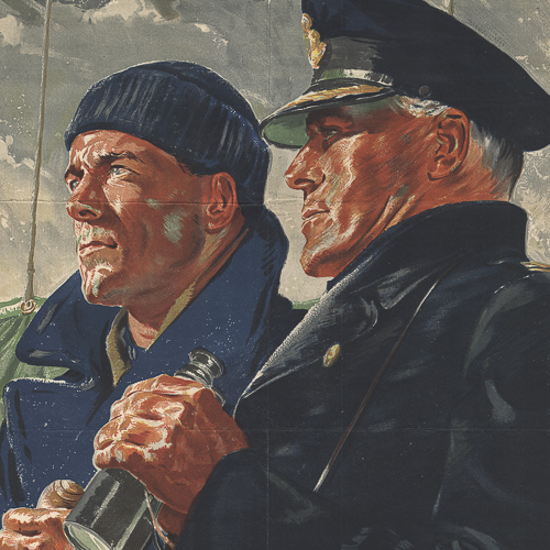 Colour illustration of two members of the Merchant Navy.
