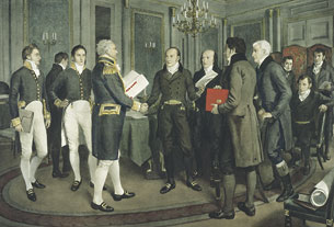 A Hundred Years Peace. The Signature of the Treaty of Ghent between Great Britain and the United States of America, Dec. 24th 1814