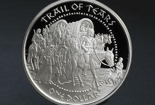 «La Piste des larmes», pièce de monnaie émise par les Shawnee