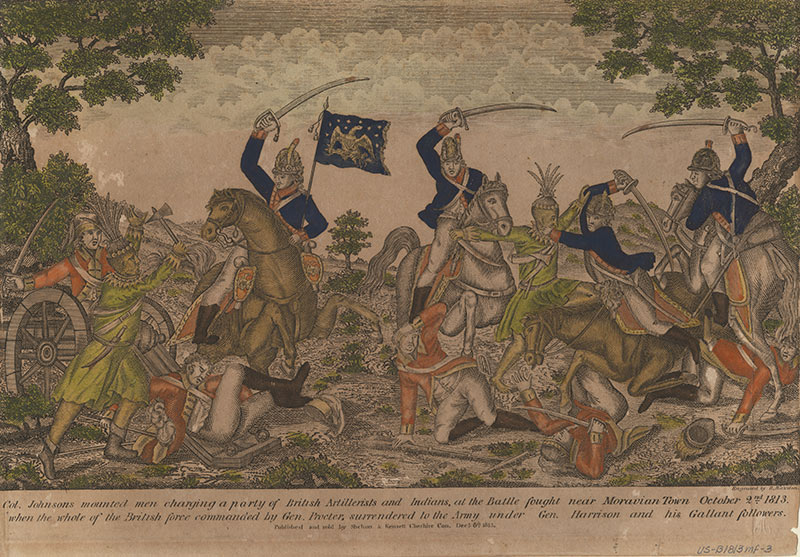 Col. Johnsons mounted men charging a party of British artillerists and Indians, at the battle fought near Moravian Town October 2nd 1813