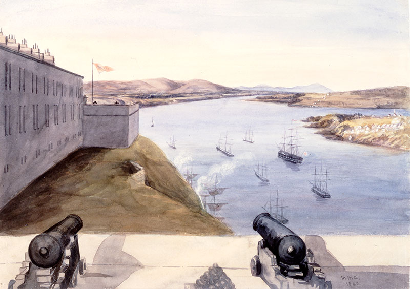 View from Near the Officer Barracks, Citadel, Quebec-Cap Tourment, Island of Orleans, 1840