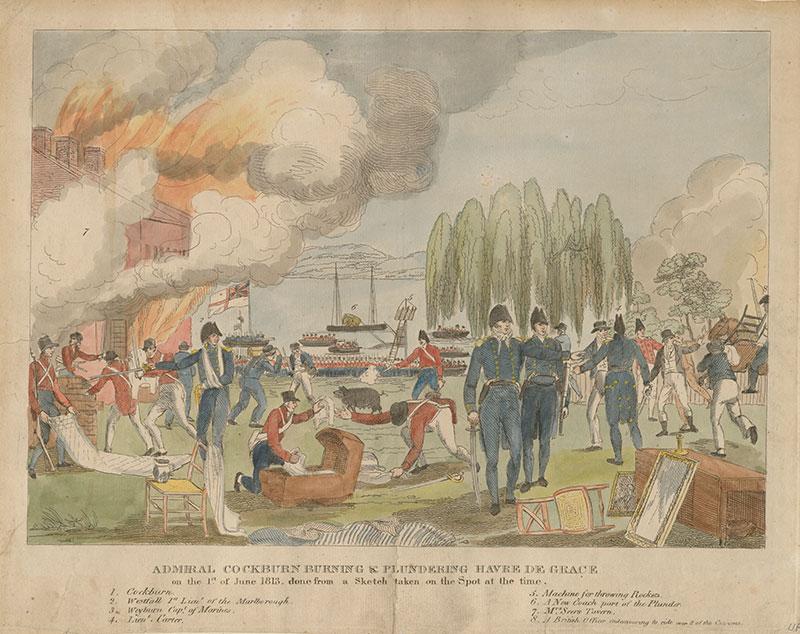 Admiral Cockburn Burning and Plundering Havre de Grace on 1st June, 1813