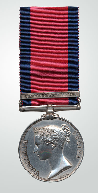 Military General Service Medal, 1793–1814 with Bar: Crysler's Farm, Joseph Plamondon, Canadian Militia
